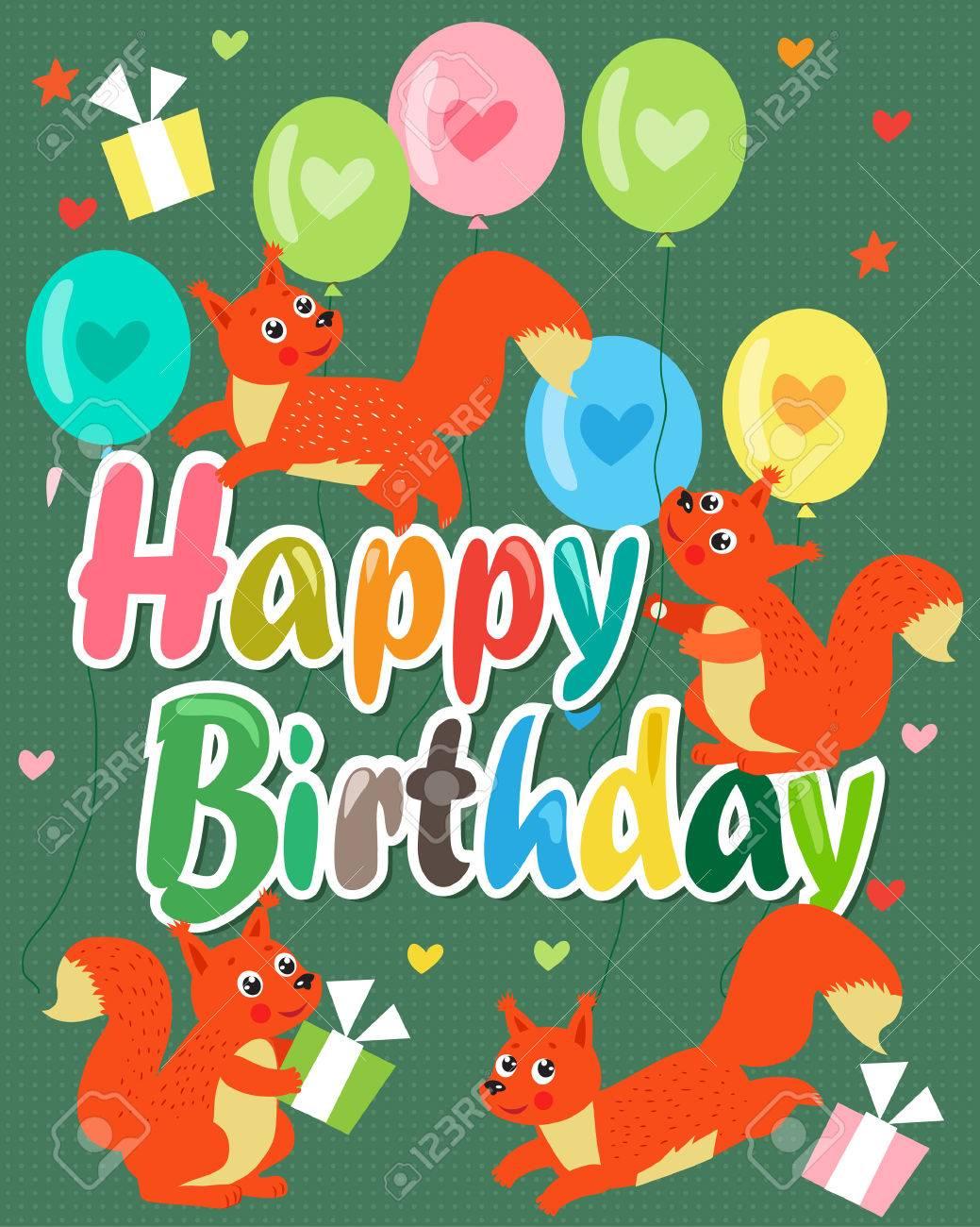 Happy birthday card with cute squirrel vector illustration happy birthday card with cute squirrel vector illustration cute baby squirrel happy birthday bookmarktalkfo Choice Image