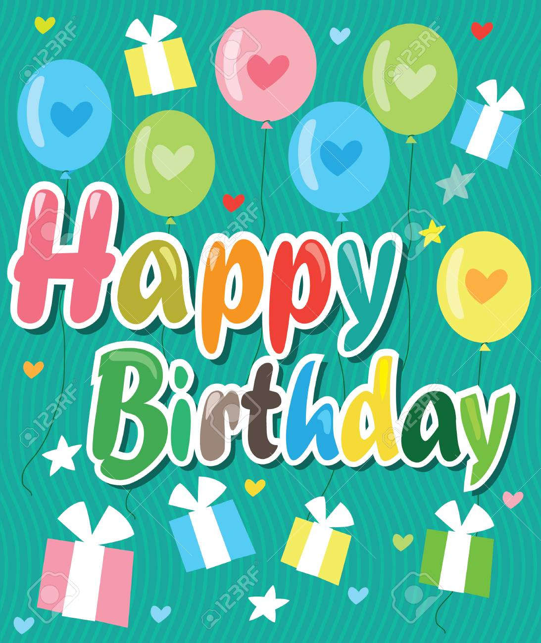 Tarjeta De Feliz Cumpleaños Con Globos De Colores Corazones Y Regalos Ilustración De Fondo Del Vector Ideas De Tarjetas De Feliz Cumpleaños