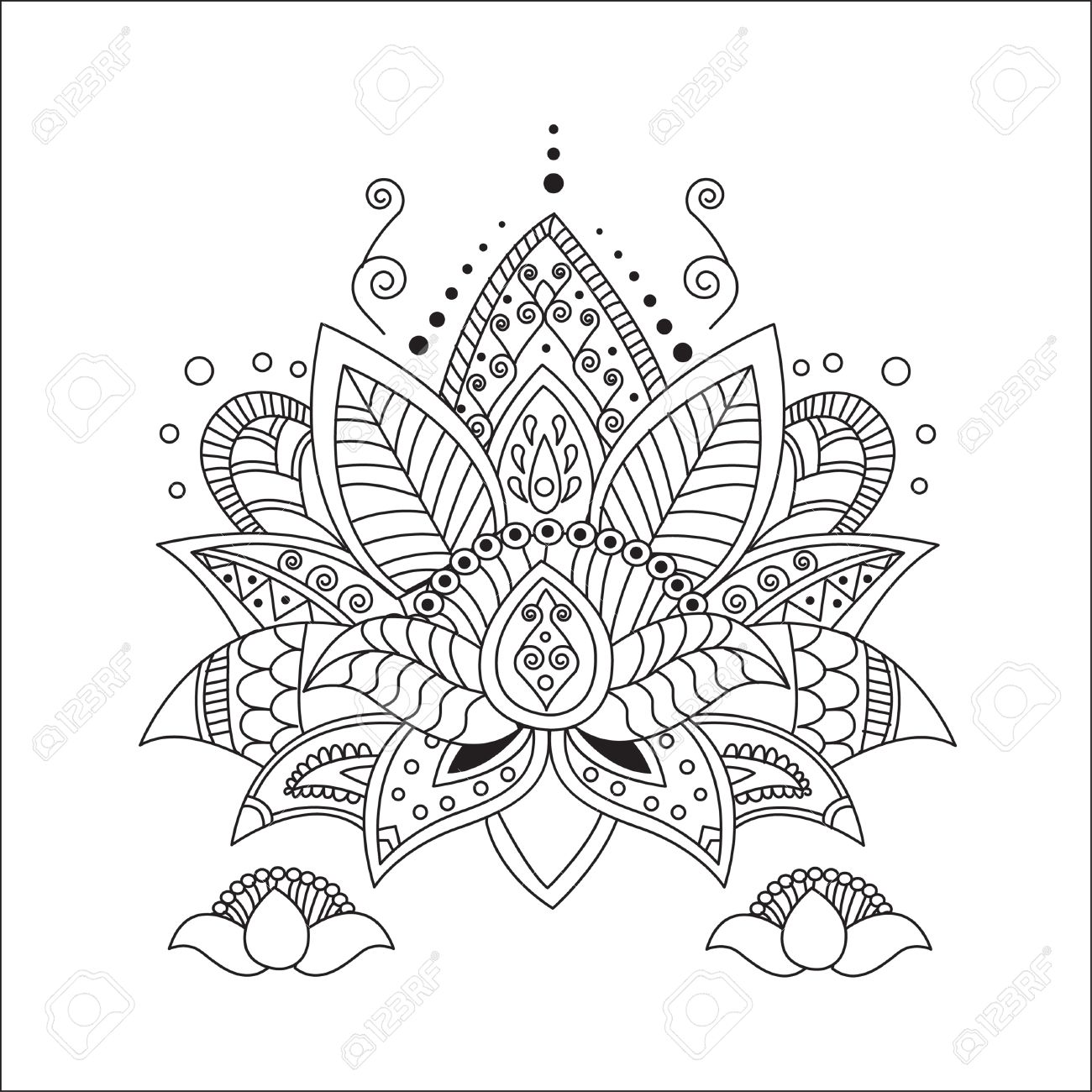 Beautiful Lotus Ornament Vector Yoga Hand Drawn Element Picture