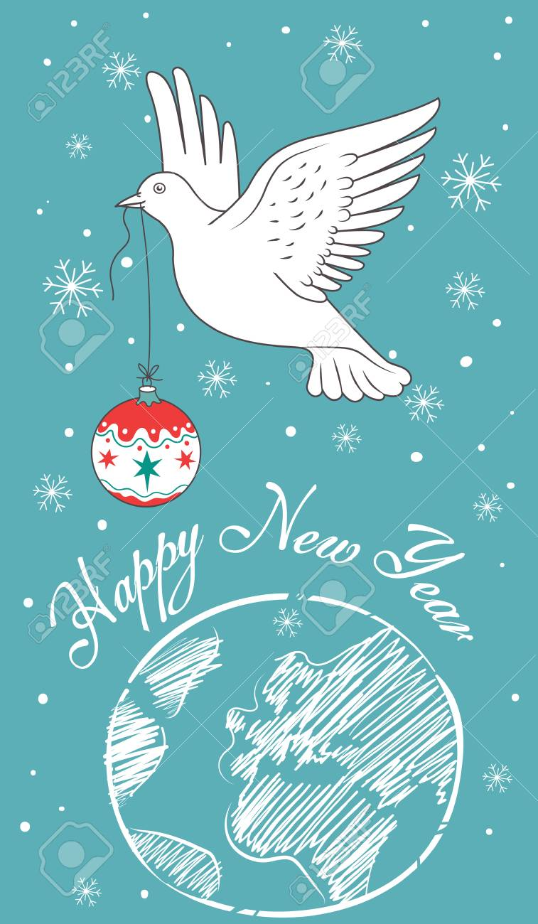new year invitation card with white dove holding an christmas ball flying over the earth