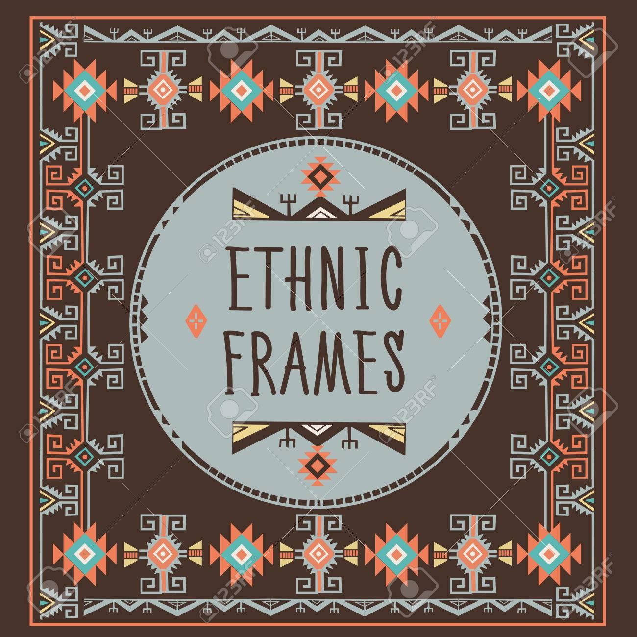Ethnic Frames Vector. Tribal Vector. African Stile Frame. Vintage ...