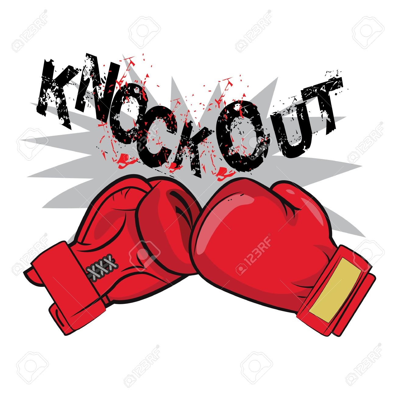 guantes de boxeo y de texto knock out boxeo emblema de la