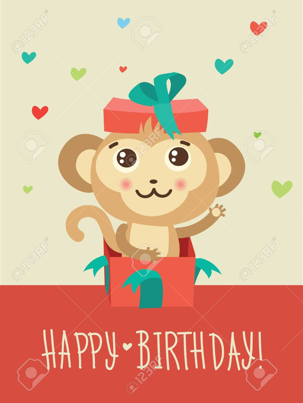 Happy birthday card with funny monkey surprise in a gift box happy birthday card with funny monkey surprise in a gift box funky monkey vector animal bookmarktalkfo Gallery