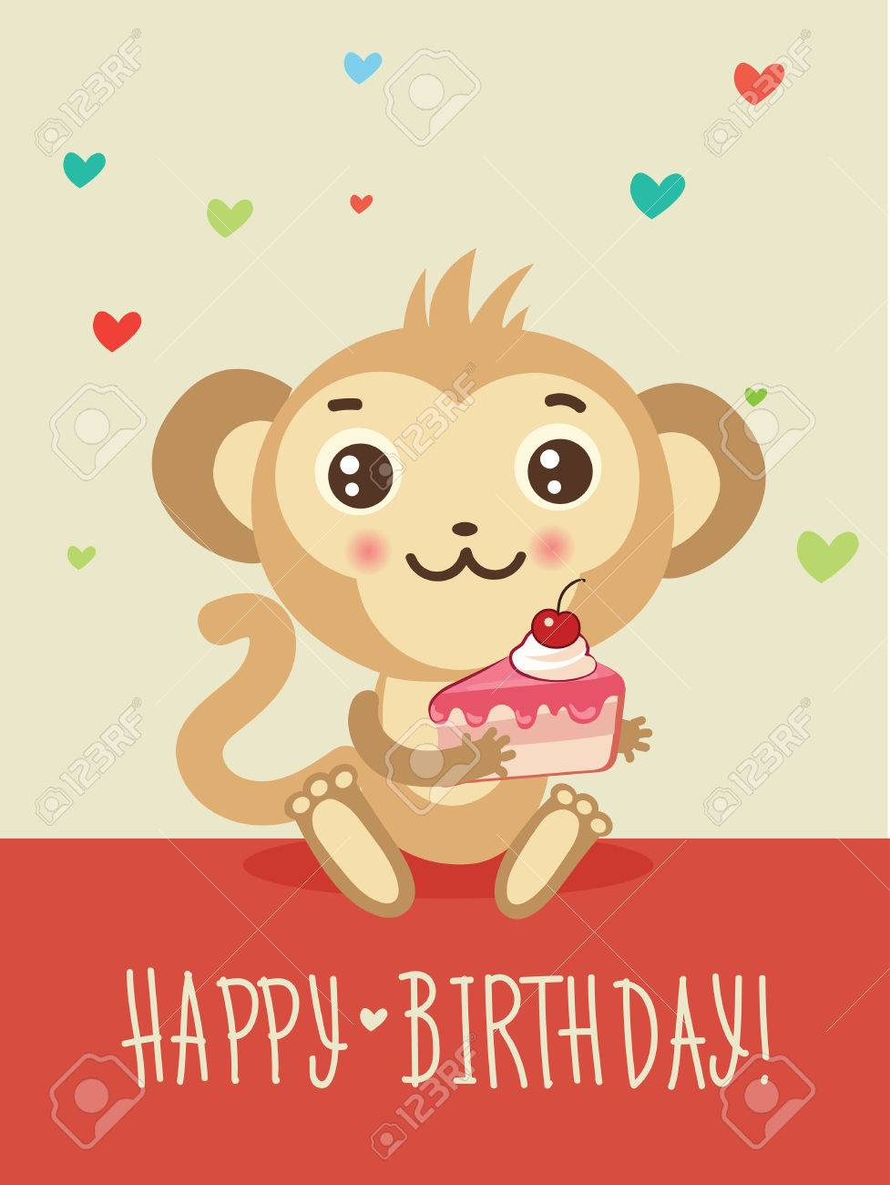 Happy Birthday Card With Funny Monkey And Cake In His Hands Cute Cartoon Animal Vector
