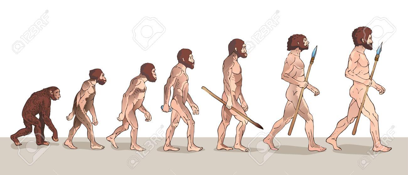 Human Evolution. Man Evolution. Historical Illustrations. Human Evolution Vector Illustration. Progress Growth Development. Monkey, Neanderthal, Homo Sapiens. Primate With Weapon. - 63582590