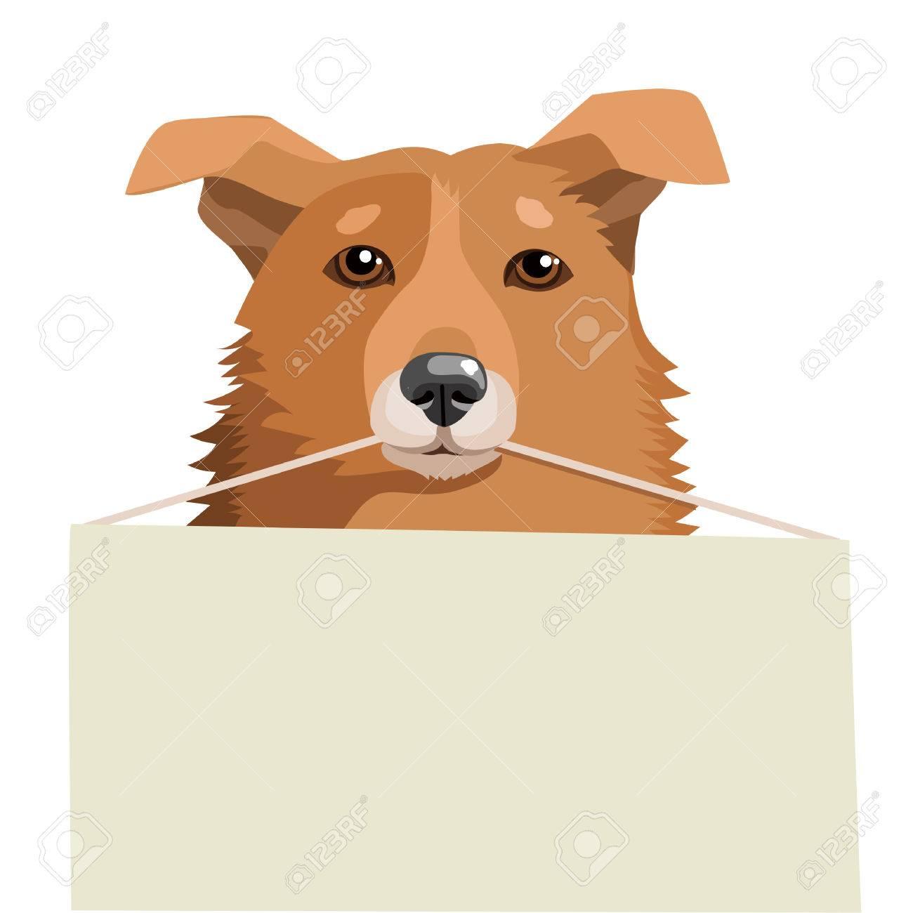 かわいい犬空白記号を保持します。白の背景にベクトル イラスト。私の