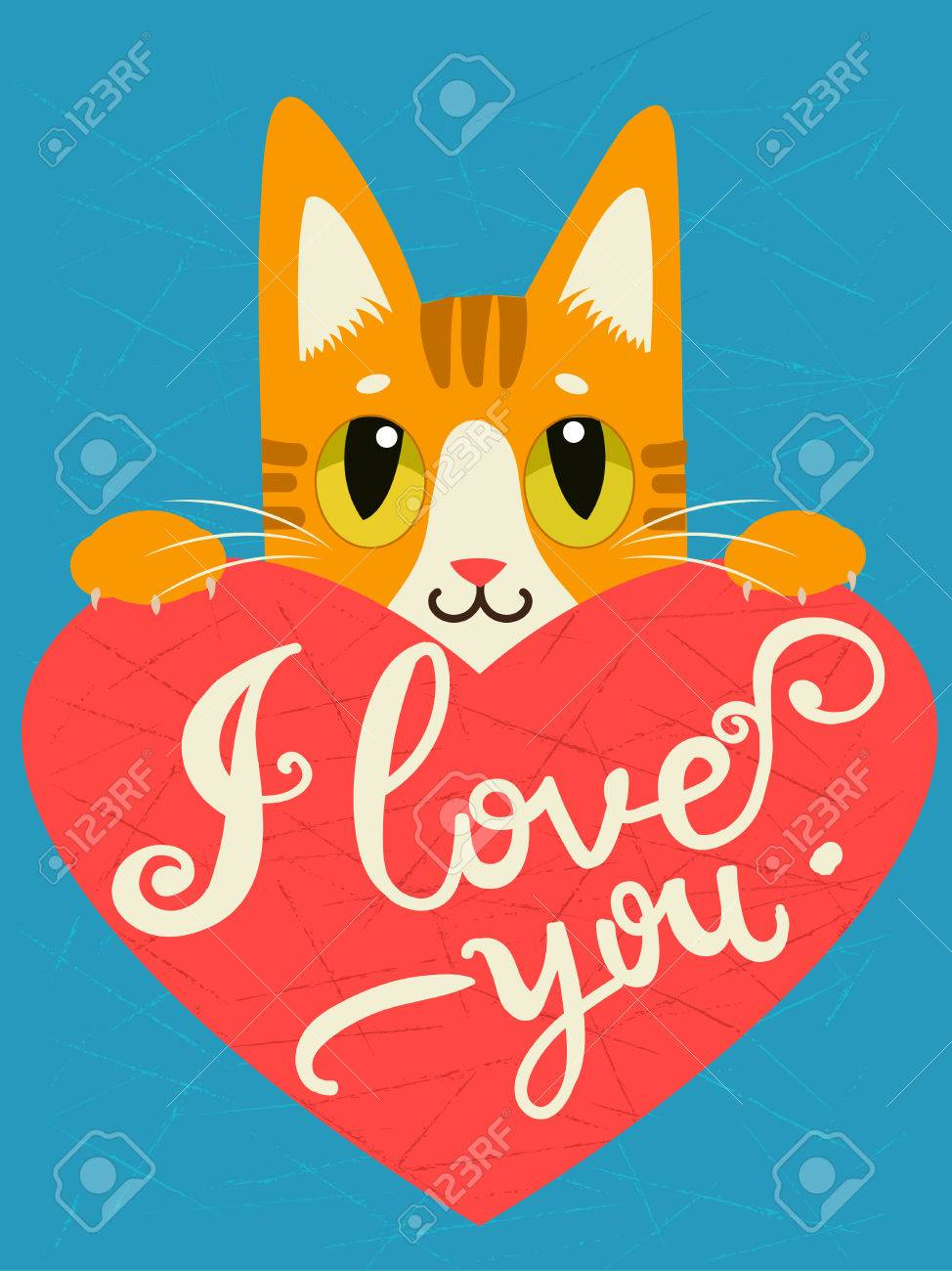 Cat Stock Quote Enamored Cat With Heart And Text I Love Youhanddrawn