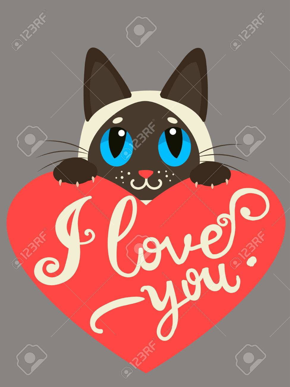 Cat Stock Quote Enamored Siamese Cat With Heart And Text I Love Youhand Drawn