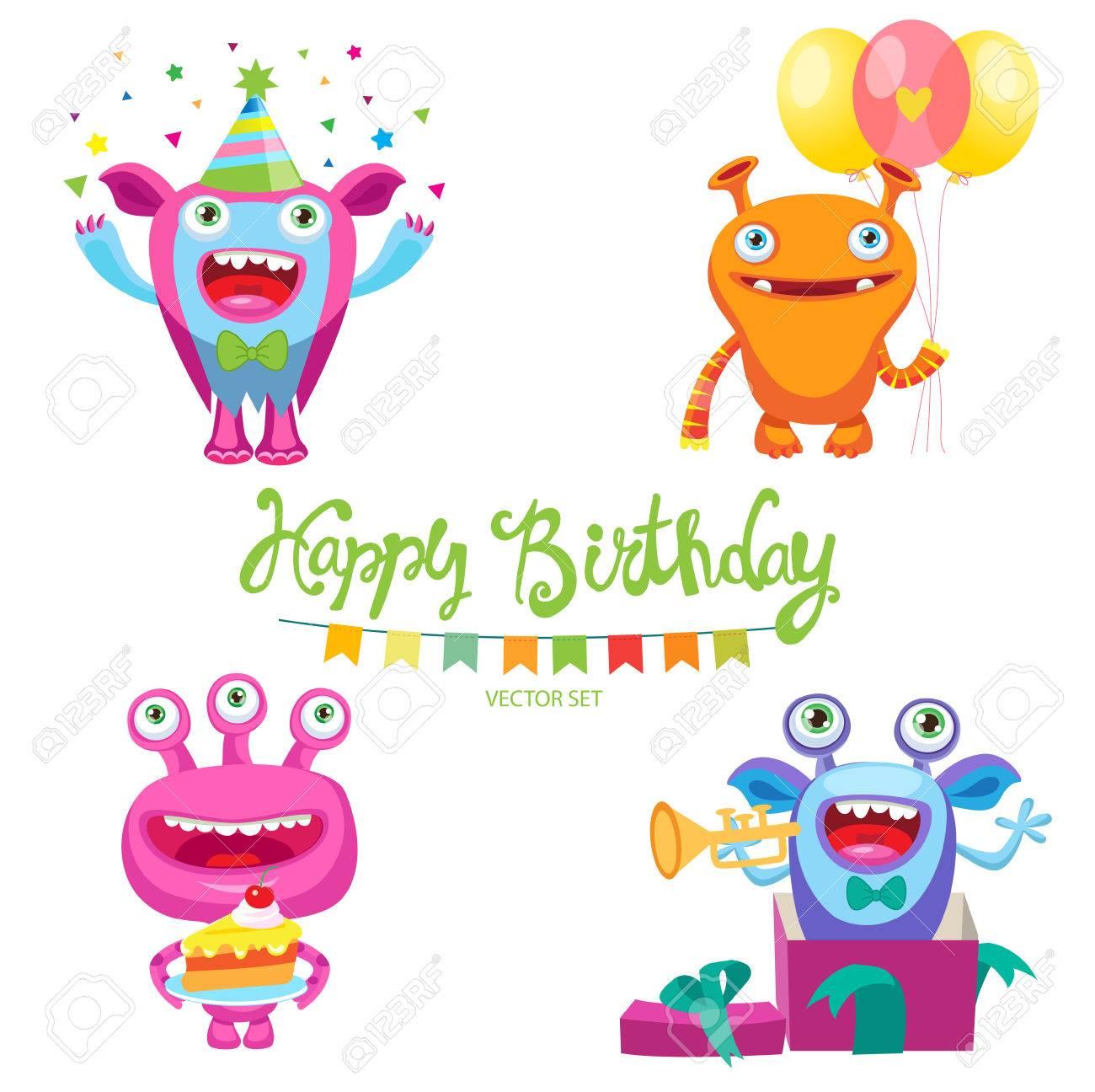 誕生日カード デザイン ベクトル イラストのかわいいモンスターのセット