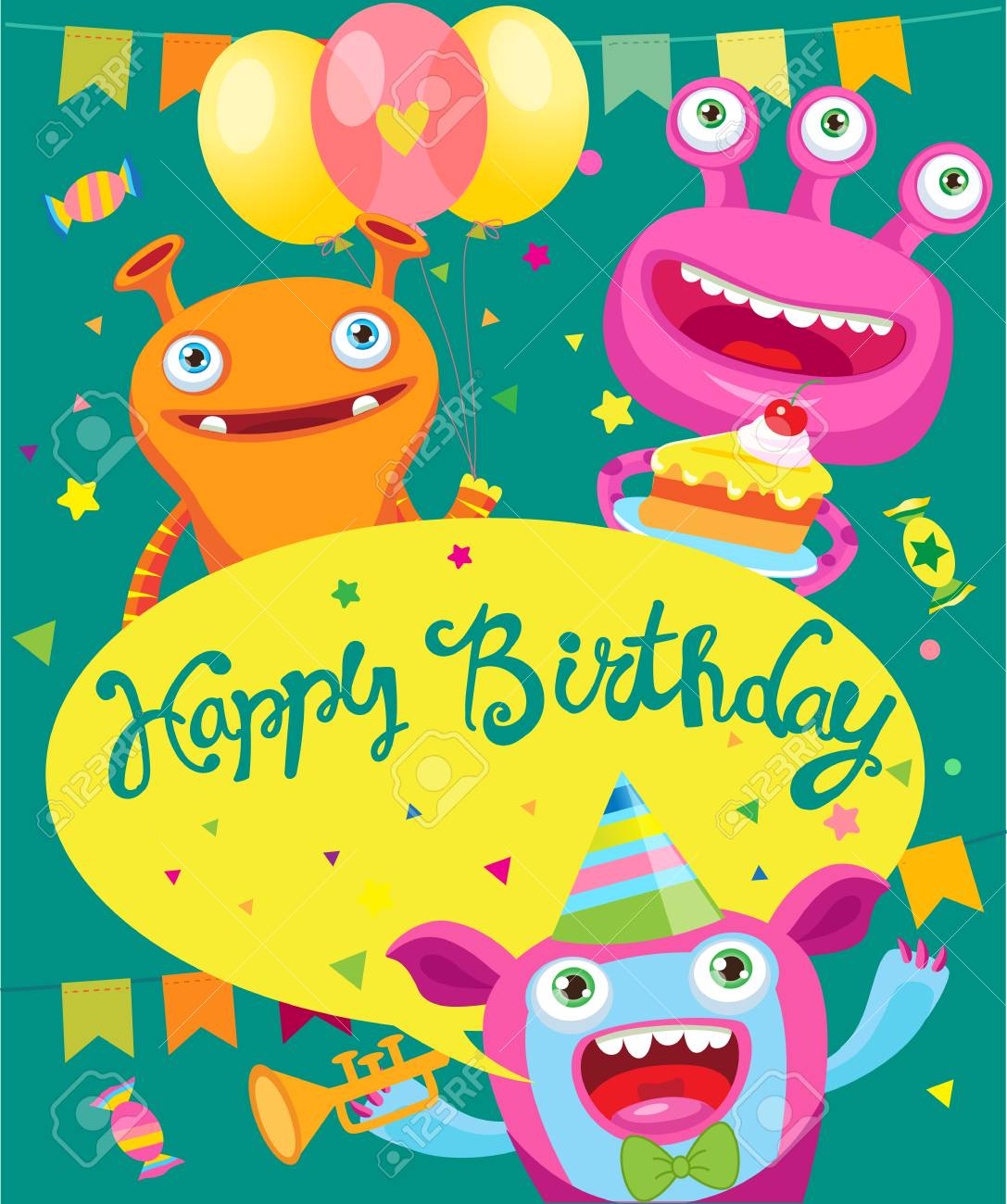 Monster Party Invitation Card Design. Vector Cartoon Illustration ...