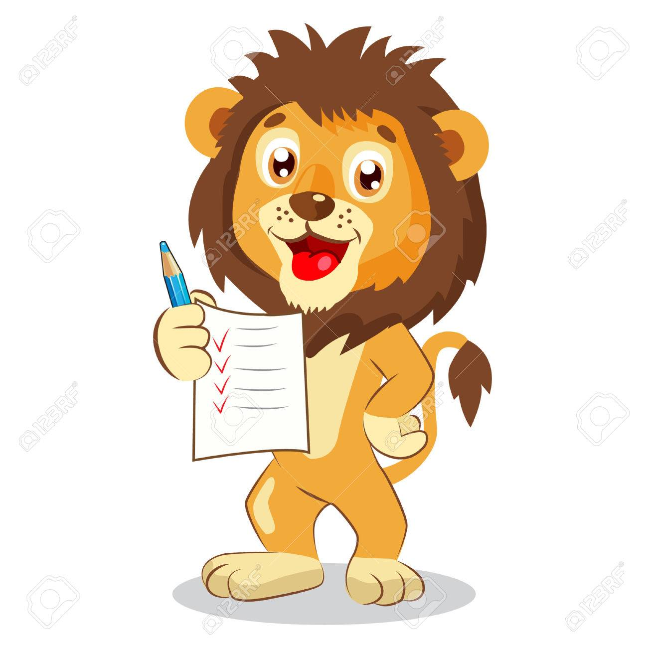 Cute Lion Holding Up His Grades Cartoon Vector Cute Lion Drawing