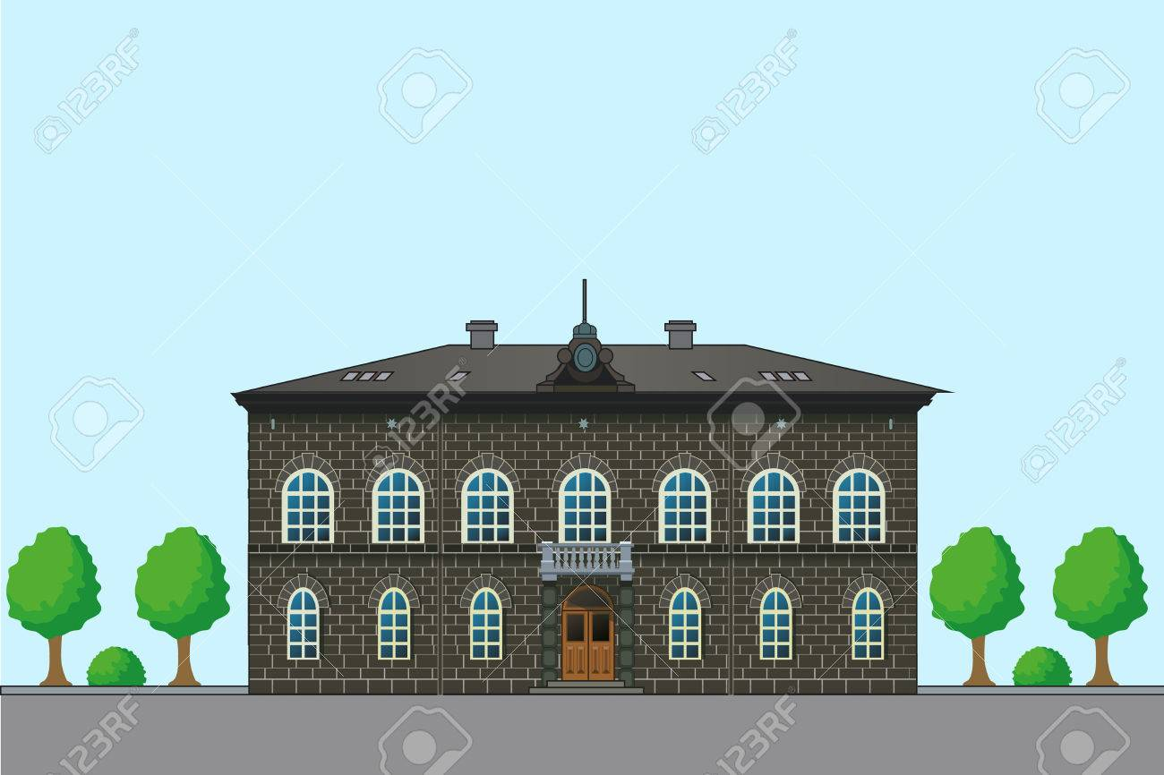 Altes Englisches Haus. Vector Architektur Illustration. Alte ...