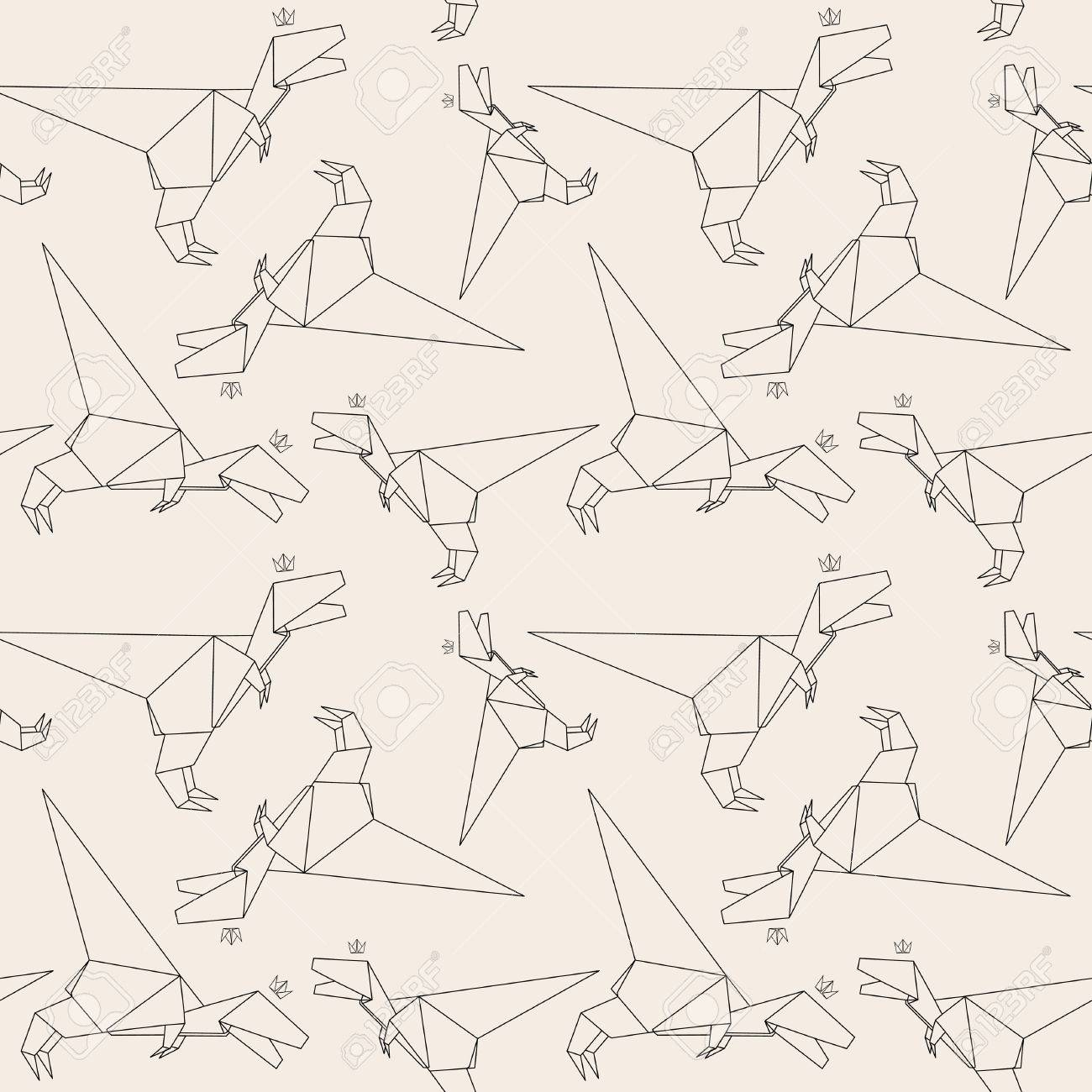 Thin Line Dinosaur Paper Origami Style Vector Seamless Pattern