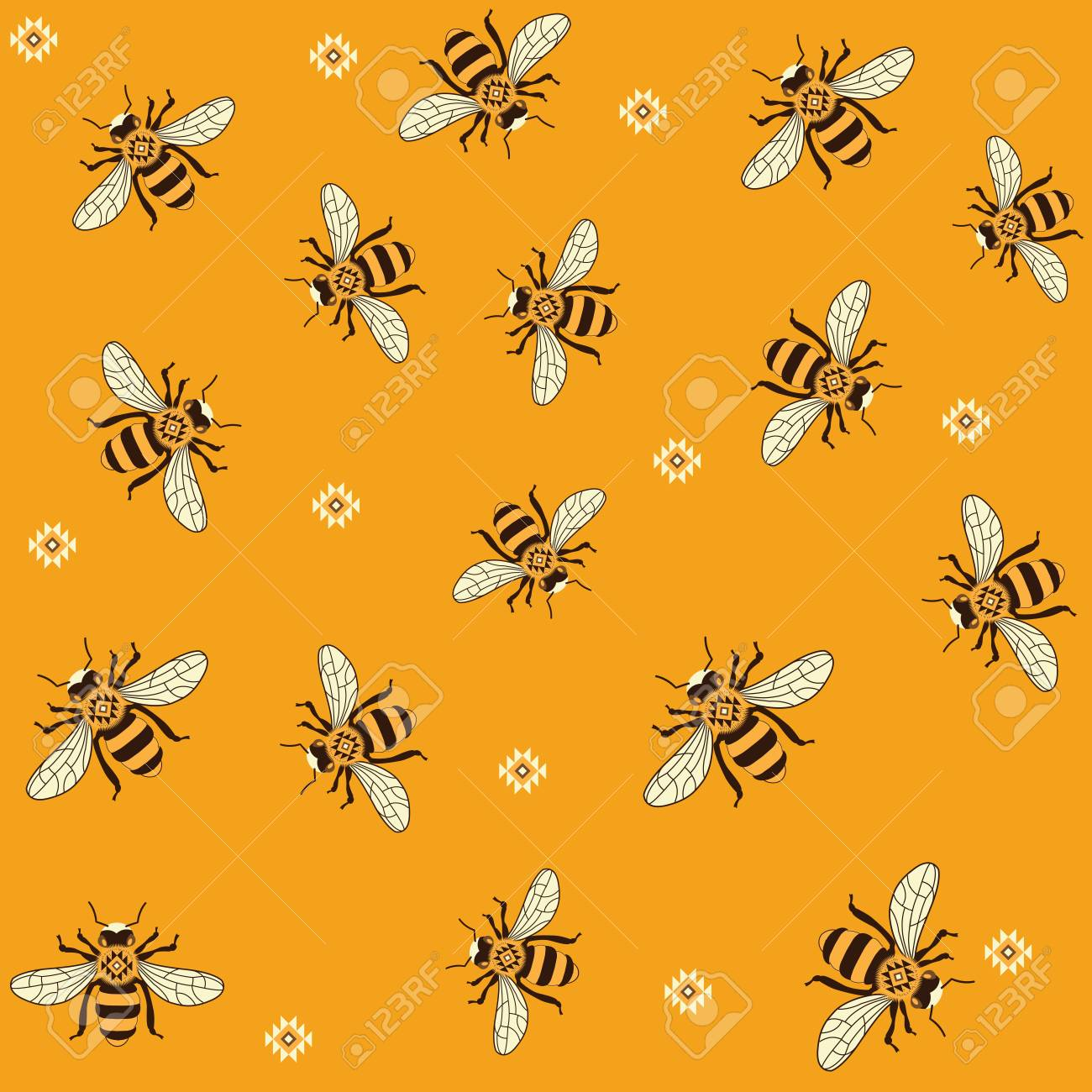 photo about Bee Printable named Seamless vector practice with honey bees. Bee habit printable