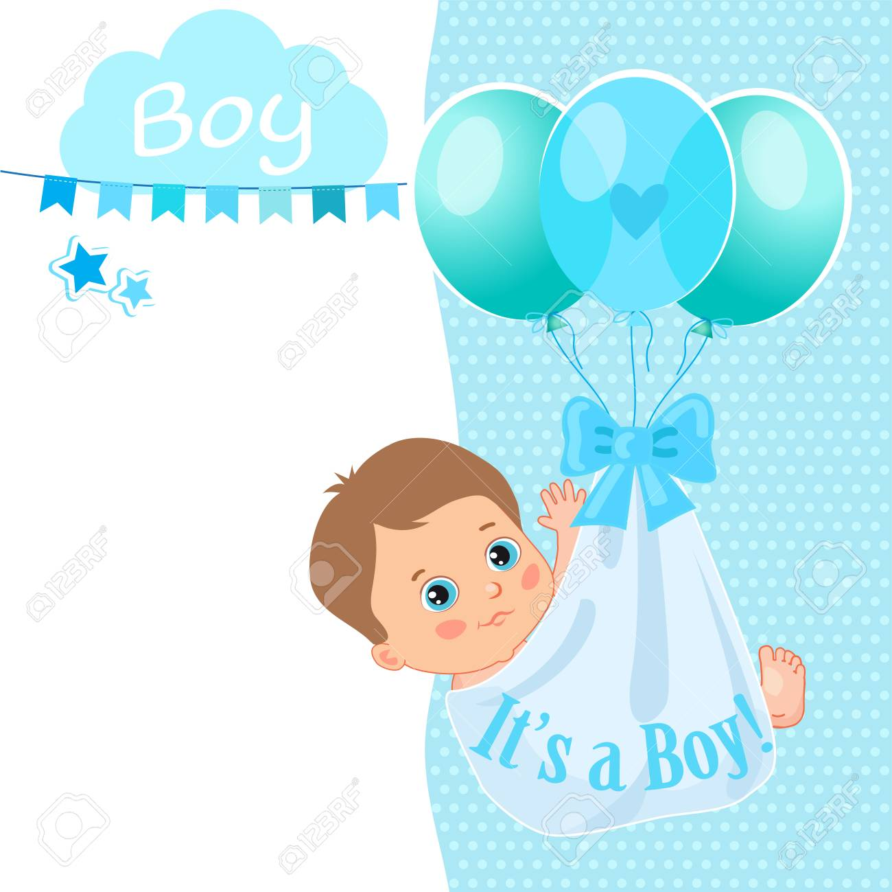 Baby Boy Shower Card Vector Illustration Baby Shower Invitation
