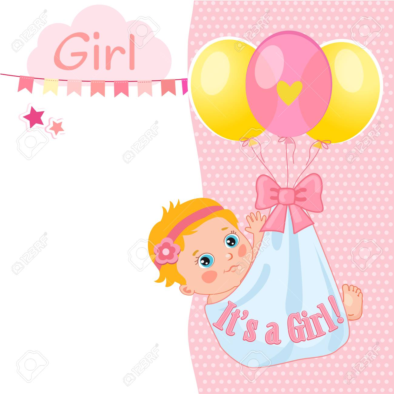 Baby Girl Shower Card Vector Illustration Baby Shower Invitation