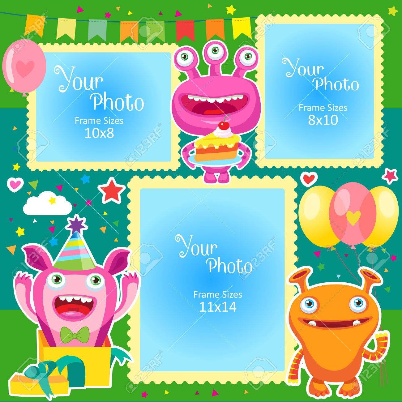 Birthday Photo Frames With Cute Monsters. Decorative Template ...