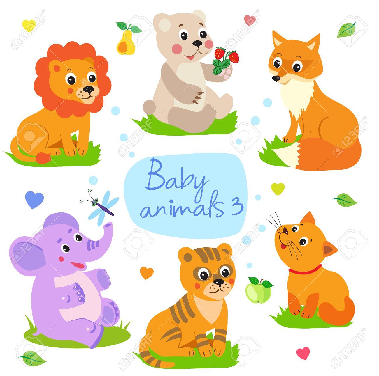 Animales Del Bebé: León, Oso, Zorro, Elefante, Tigre, Gato. Conjunto ...