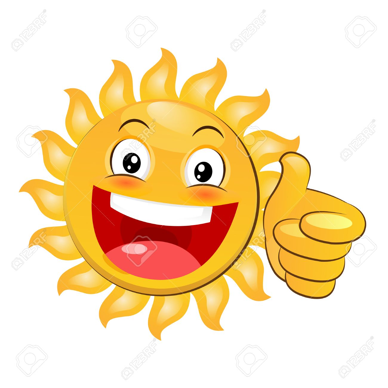 smiling yellow happy sun giving a thumbs up. cartoon vector isolated
