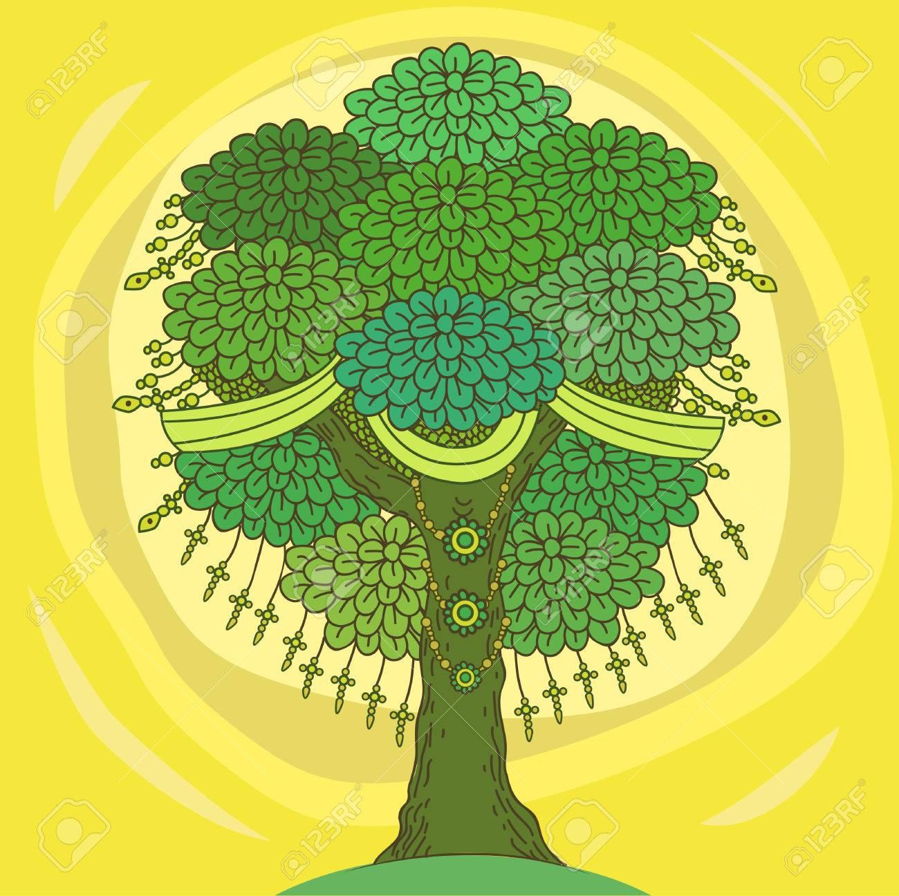 Amazing Color Tree Of Life In The Indian Style With Leaves Cartoon Vector Illustrations