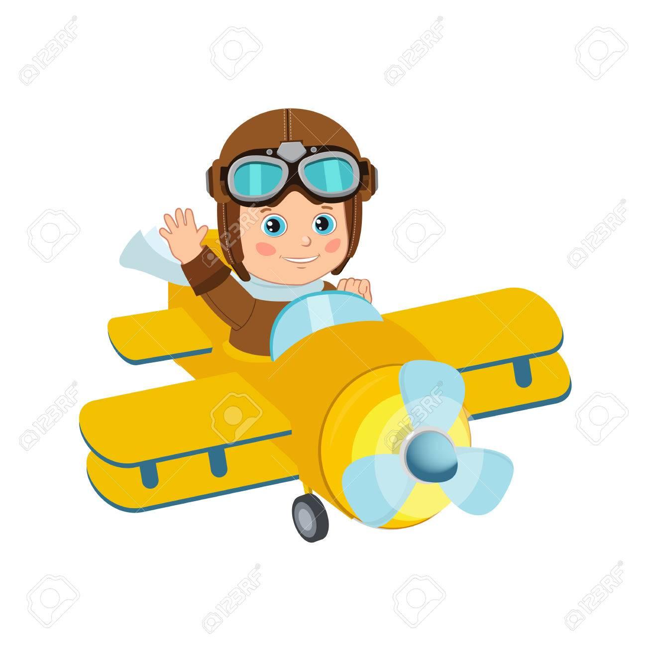cute boy pilot flies on a airplane cartoon vector retro boy rh 123rf com airplane pilot cartoon images airplane pilot cartoon images