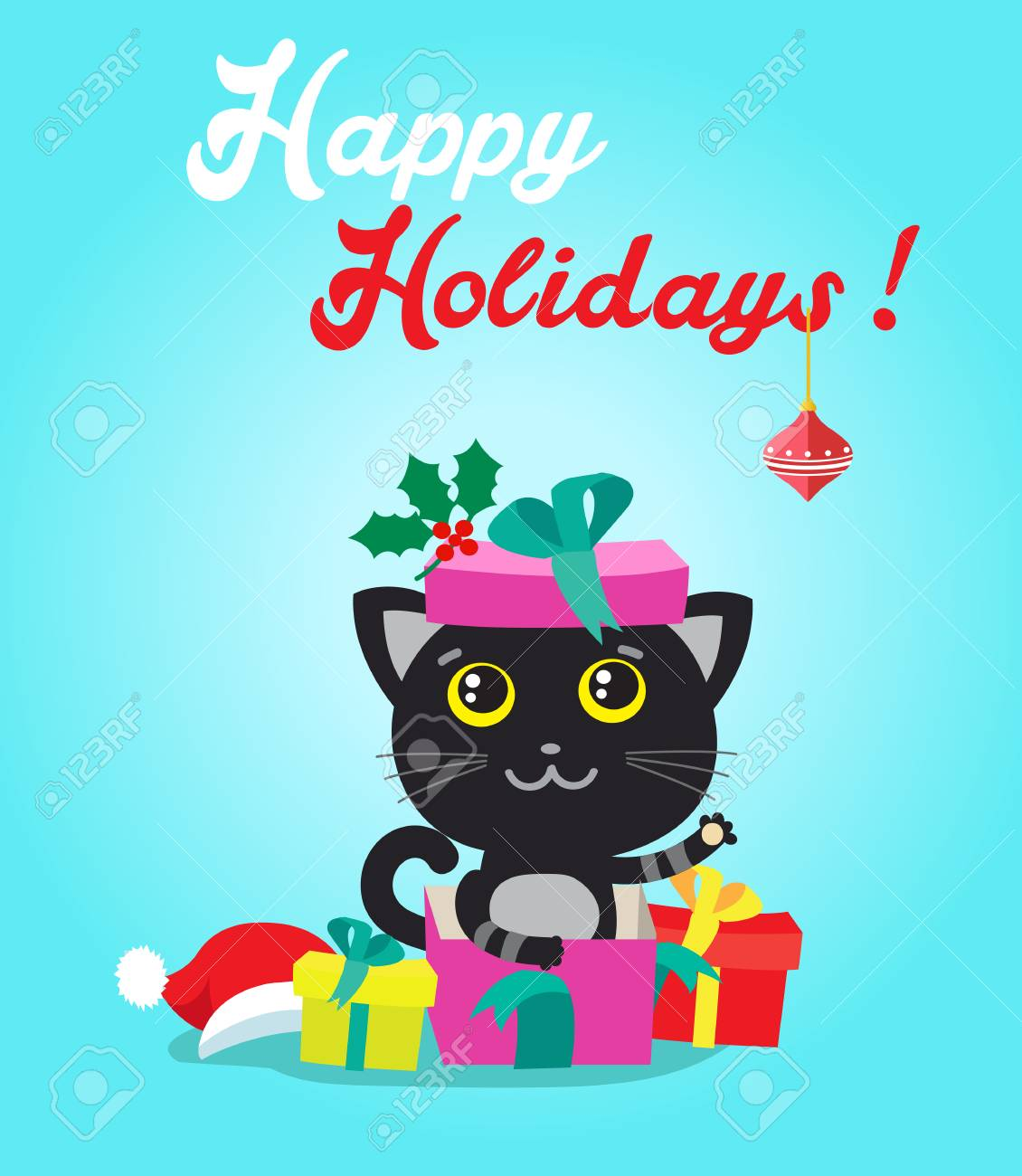 Cat Cartoon Character For Christmas Vector Cards And Banners ...