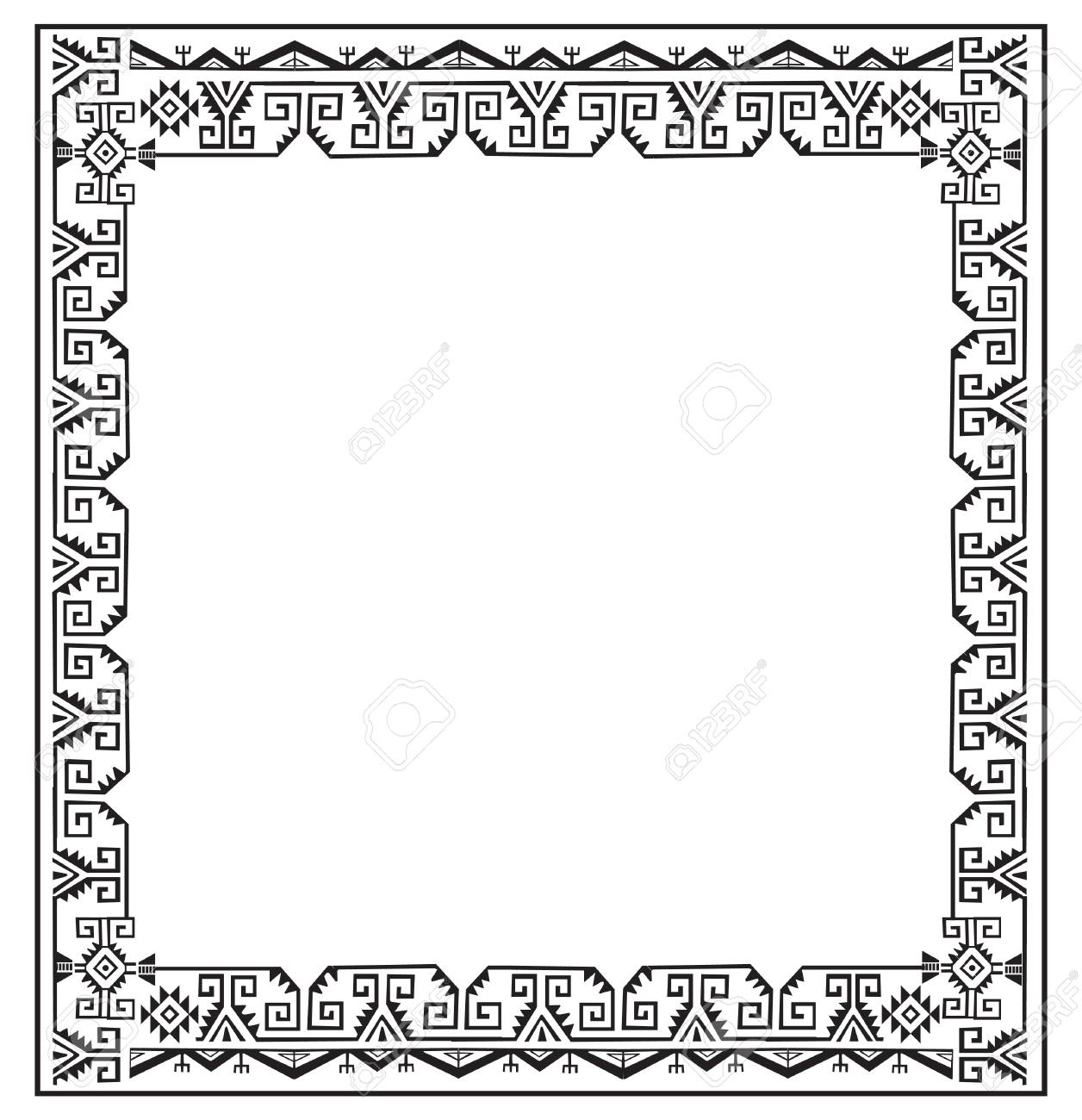 Black And White Ethnic Frames Vector. Tribal Vector Frame. Navajo ...