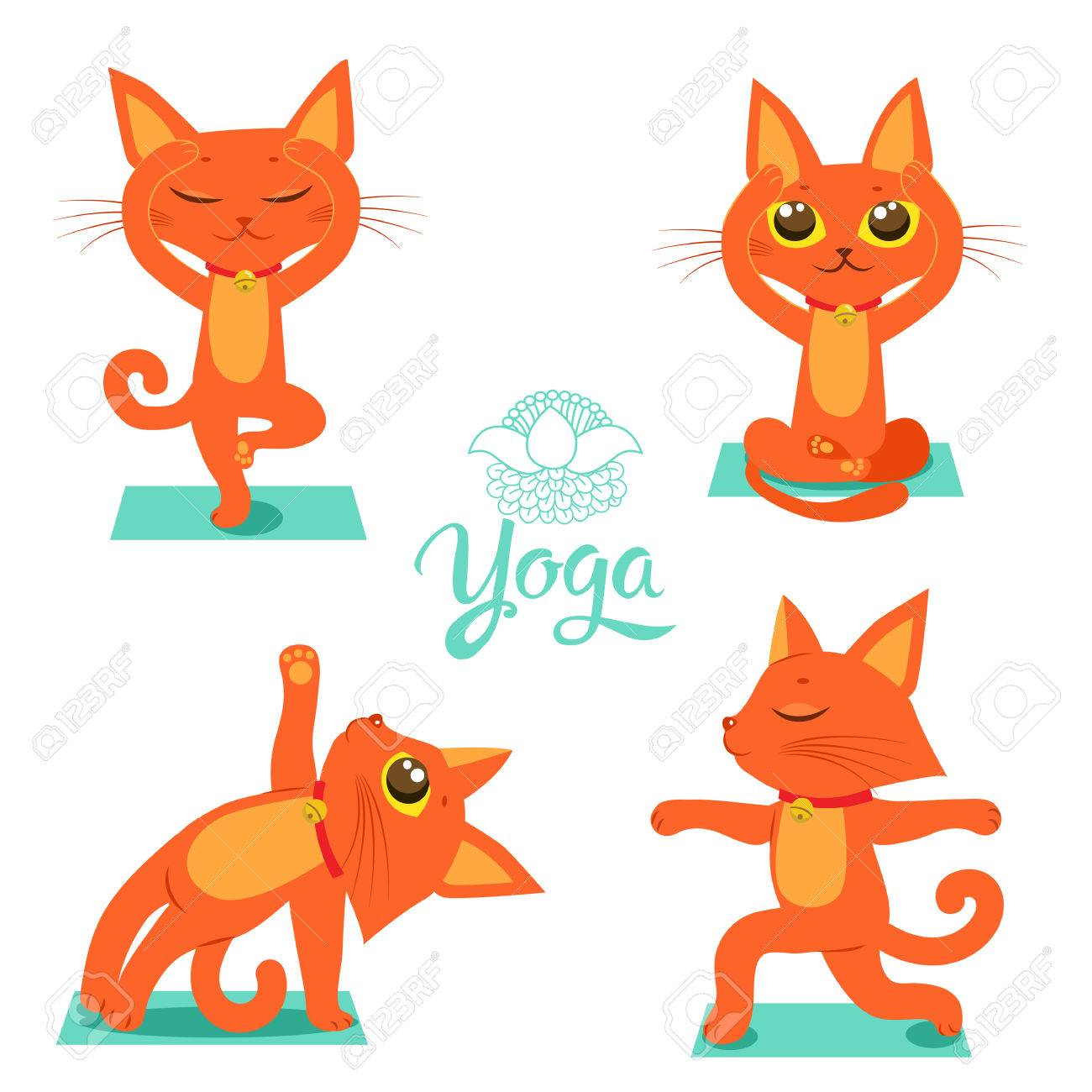 Set Cartoon Funny Cats Icons Doing Yoga Position Meditation Vector Pose