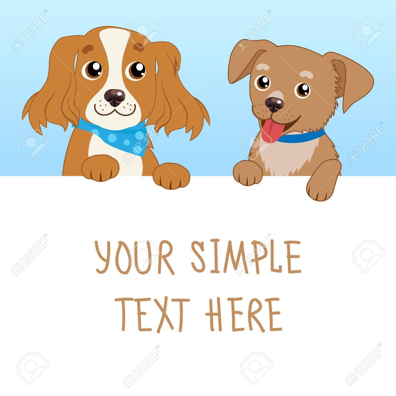 eb35bbf5d0615 Bonita mascota Ilustración De Vector De Dibujos Animados De Perros  Divertidos Con Tarjeta Blanca O Tarjeta