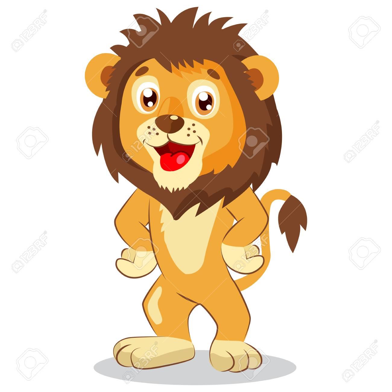 Léo Heureux Vecteur De Dessin Animé Lion Caractère Mignon Illustration Drôle D Enfants Lion Mascotte Drôle Animaux De La Jungle Mignon