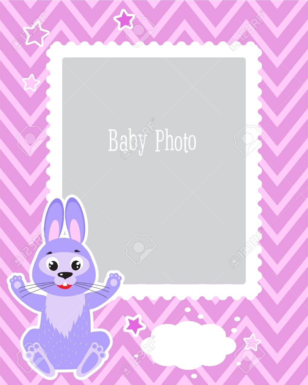 Photo Frame Design For Kids With Cute Rabbit. Decorative Template ...