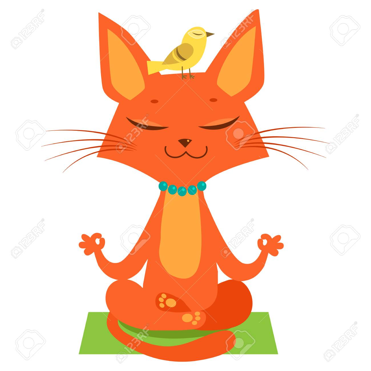 Meditating Yoga Cat Vector Funny Cartoon Cat Practicing Yoga Royalty Free Cliparts Vectors And Stock Illustration Image 84813310