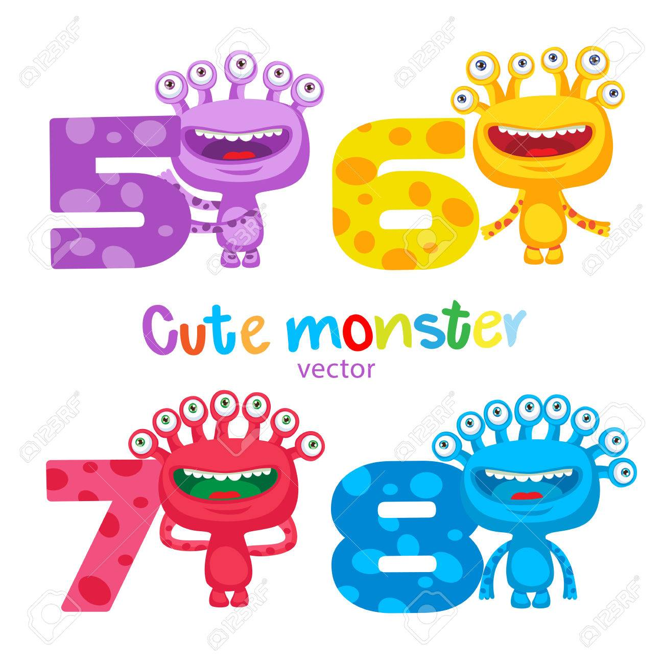 Happy School Theme. Cute Colorful Monsters And Kids Numbers Vector ...