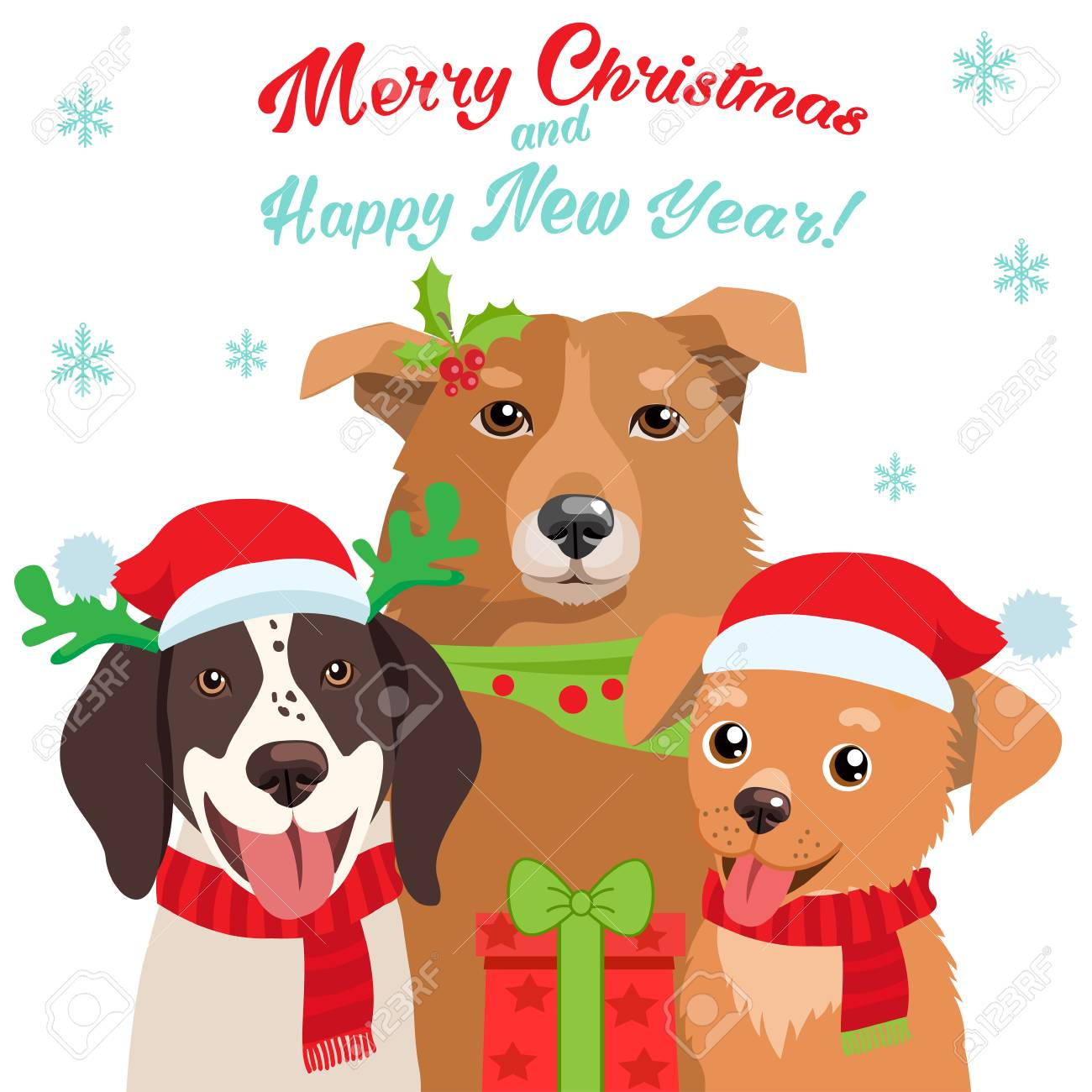 Cartoon Dog With Santa Hat And Christmas Text Vector Card For