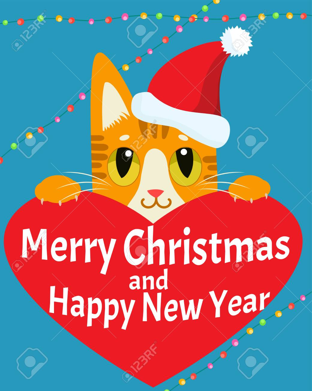 a cat in love happy new year card with cat vector christmas kitty with