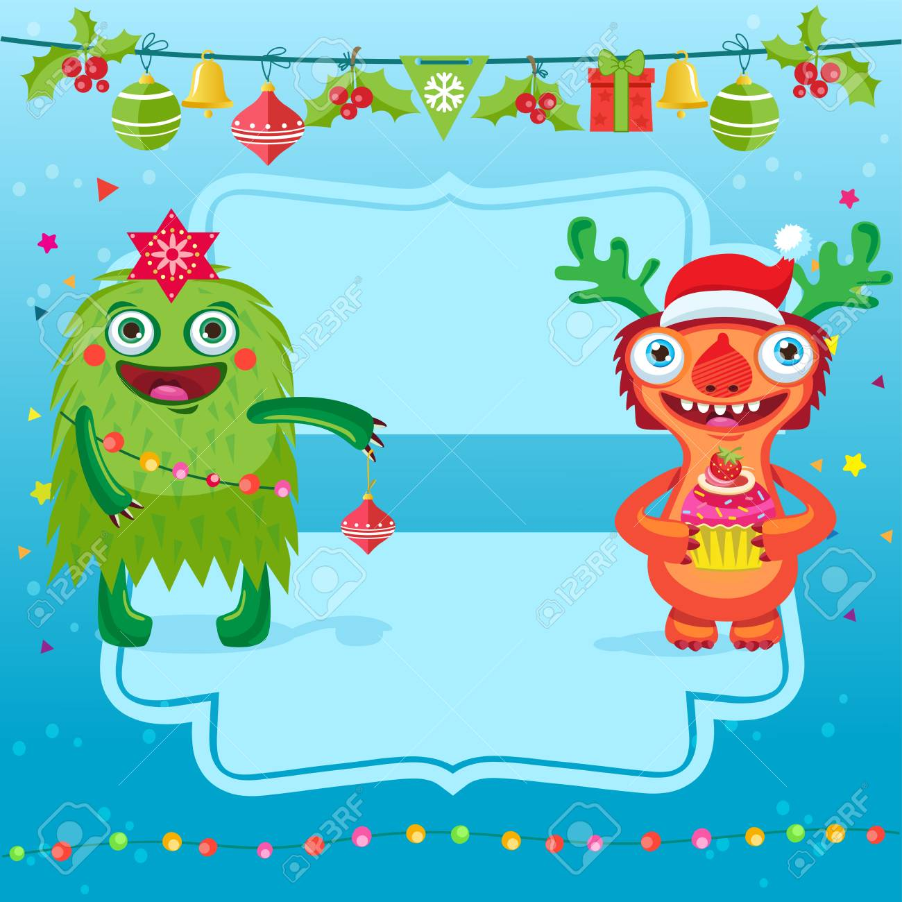 Funny merry christmas vector card greeting card with cartoon funny merry christmas vector card greeting card with cartoon christmas tree and cheerful monster with m4hsunfo