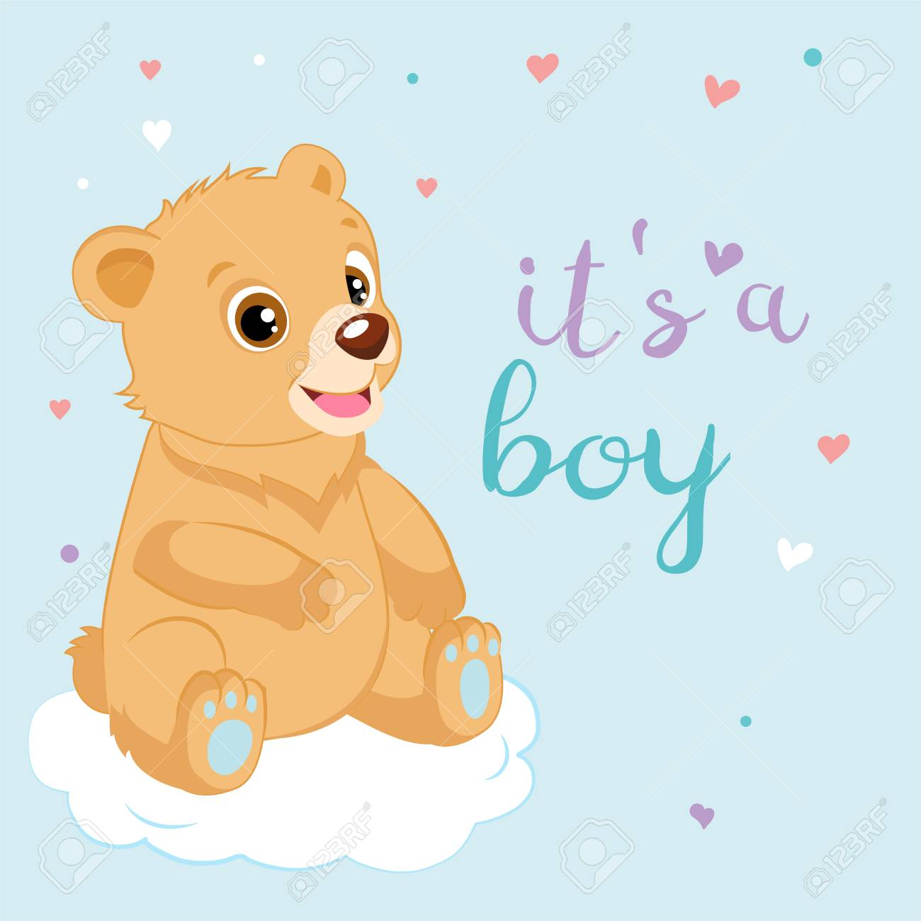 Cute Cartoon Teddy Bear Design Vector Baby Boy Teddy Bear Shower