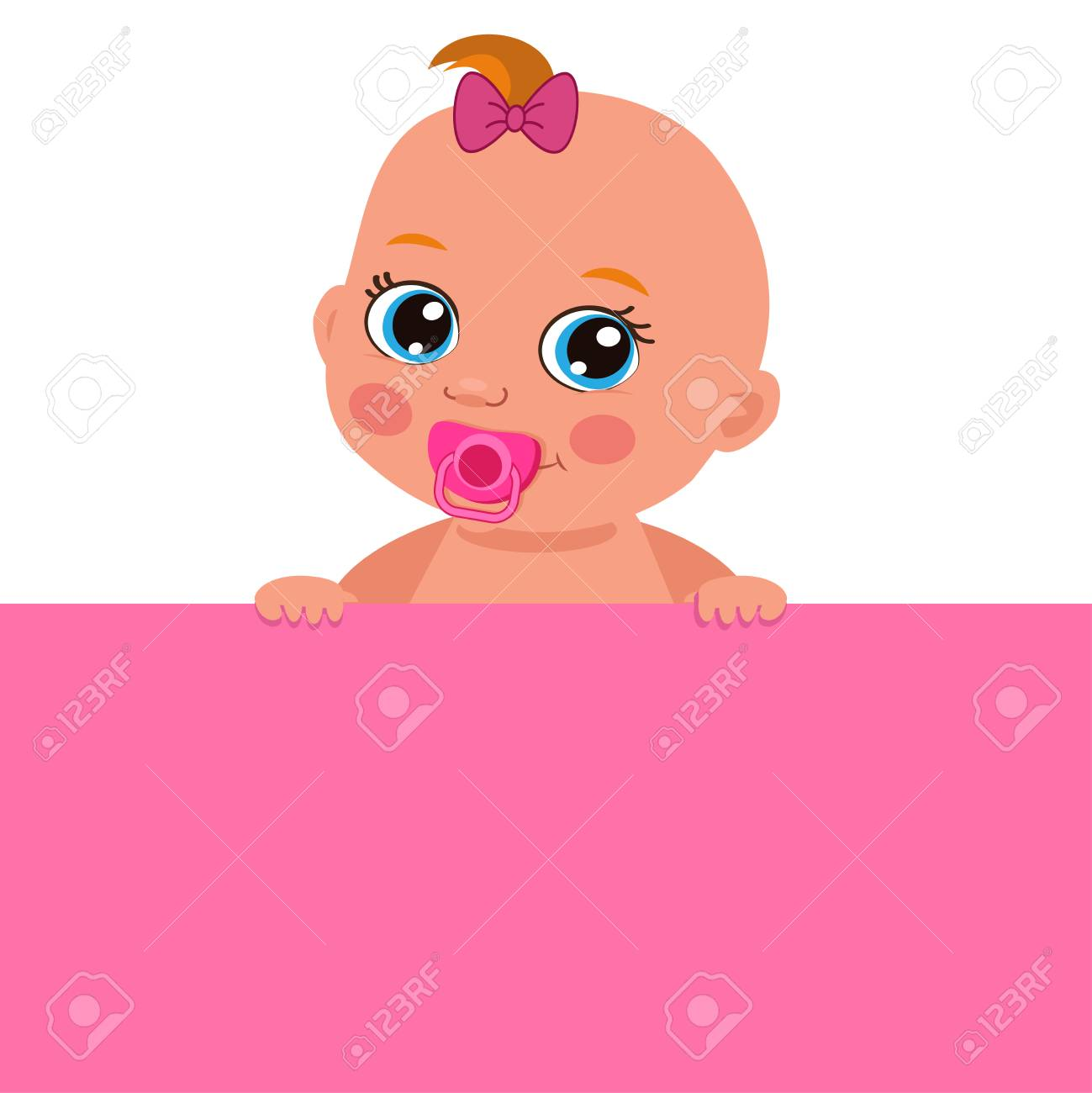 Cute Baby Girl With Blank Banner Vector Illustration Cartoon Royalty Free Cliparts Vectors And Stock Illustration Image 97195803