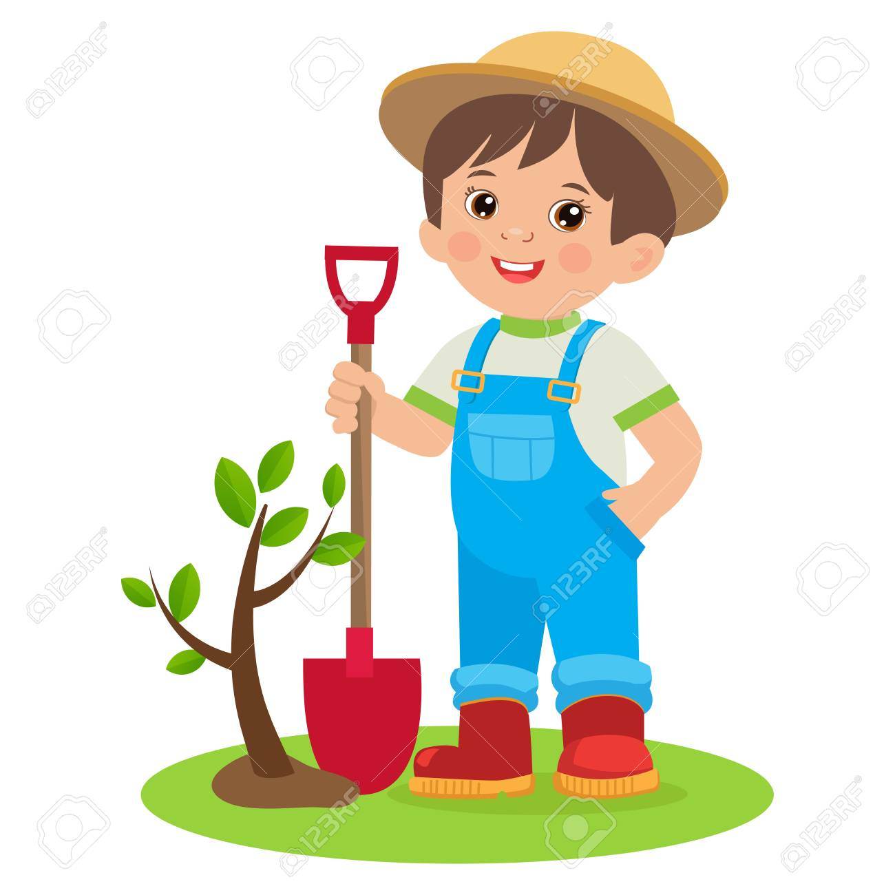 Spring Gardening. Growing Young Gardener. Cute Cartoon Boy With Shovel. Young Farmer Planting A Tree Colorful Simple Design Vector. - 100068829