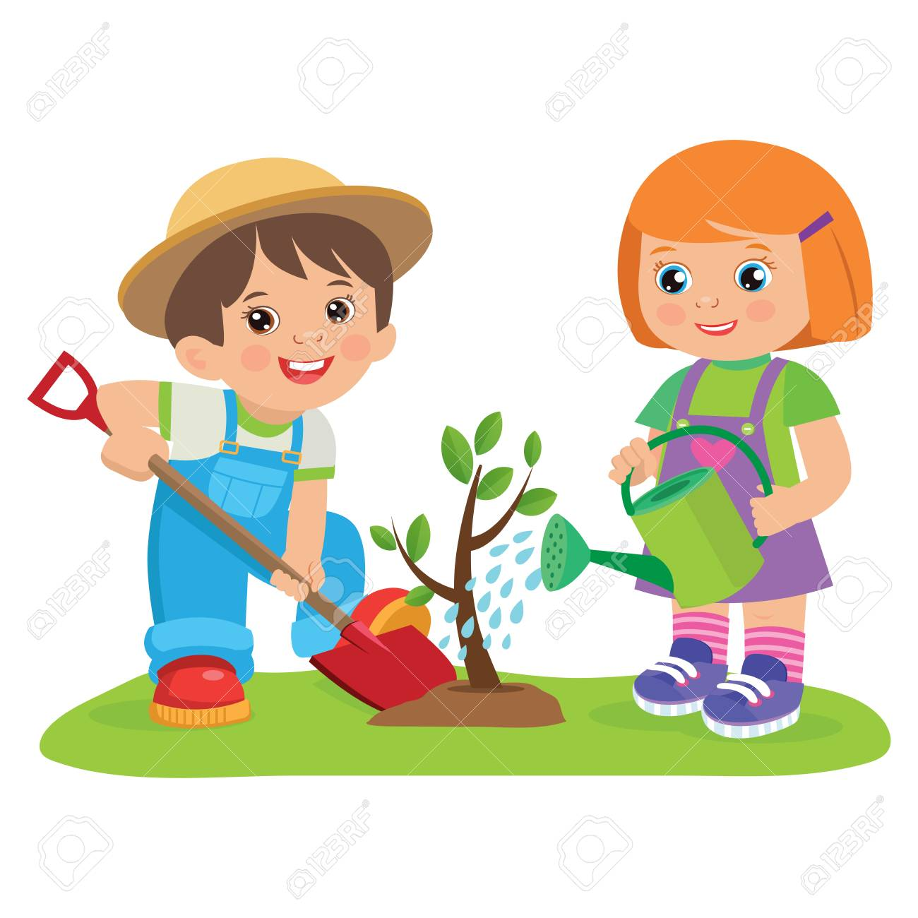 Cute Cartoon Girl And Boy Working In The Garden Vector Illustration Royalty Free Cliparts Vectors And Stock Illustration Image 100068832