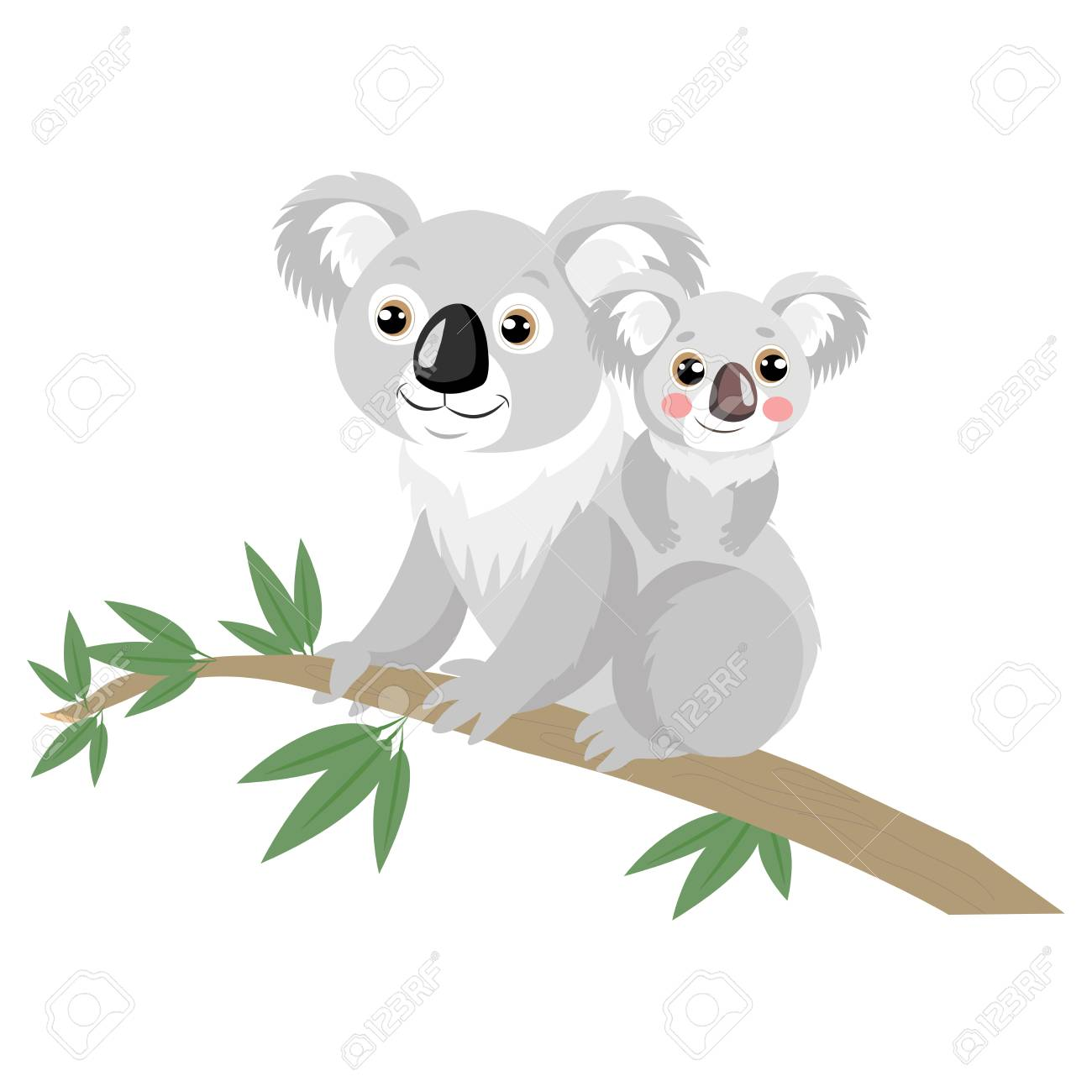 Mother And Baby Koala Bear On Wood Branch With Green Leaves