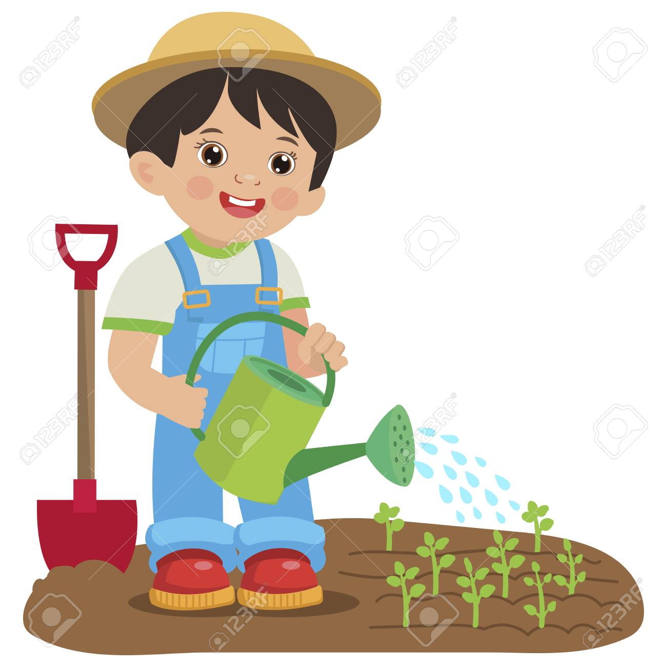 Cute Cartoon Boy With Watering Can Young Farmer Working In The Royalty Free Cliparts Vectors And Stock Illustration Image 124637769