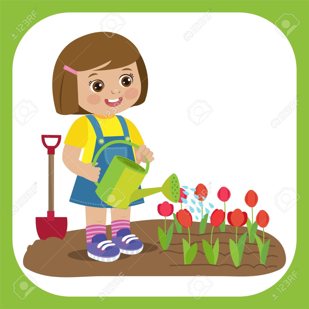 Cute Cartoon Girl With Watering Can Working In Garden Young Royalty Free Cliparts Vectors And Stock Illustration Image 124557609