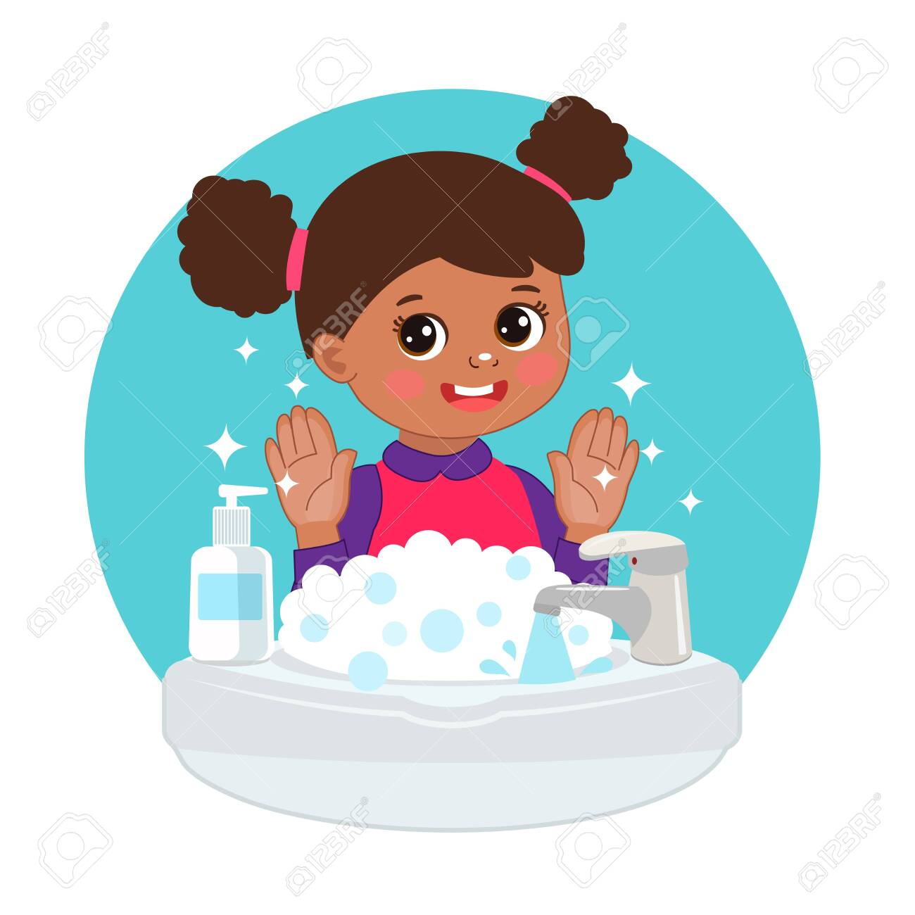 Cute Young Afro American Girl Washing Hands In The Sink Illustration Royalty Free Cliparts Vectors And Stock Illustration Image 142827885