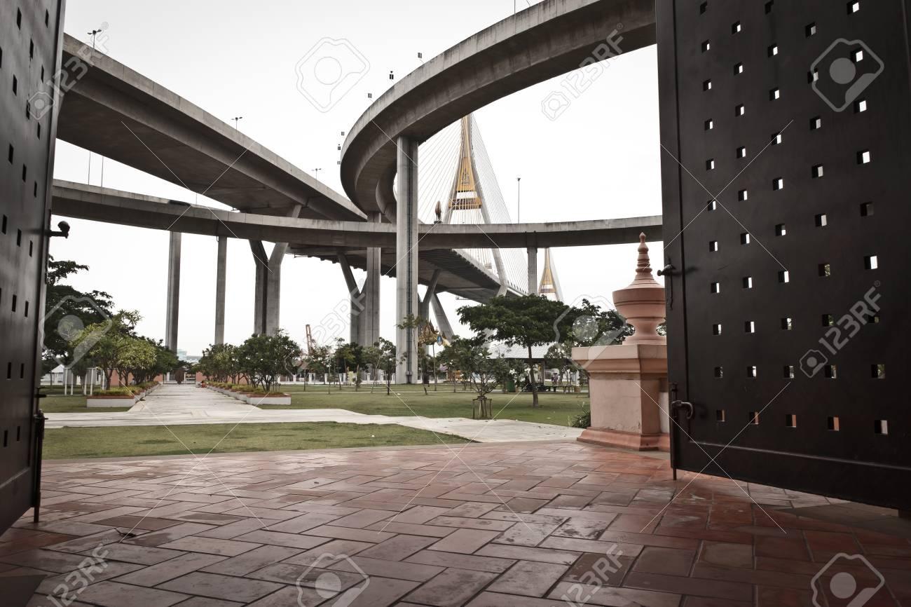 King Bhumibol Bridge in bangkok from Thailand Stock Photo - 14264475