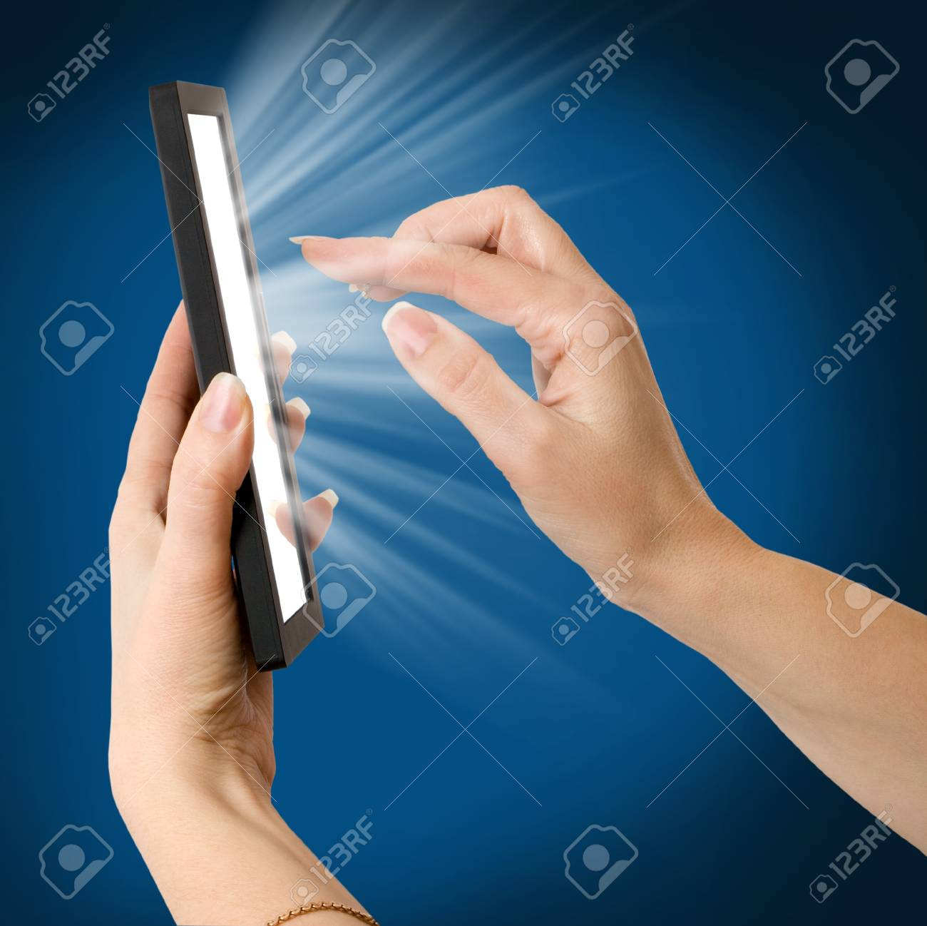 a woman hand holding a touchpad pc Stock Photo - 12248299