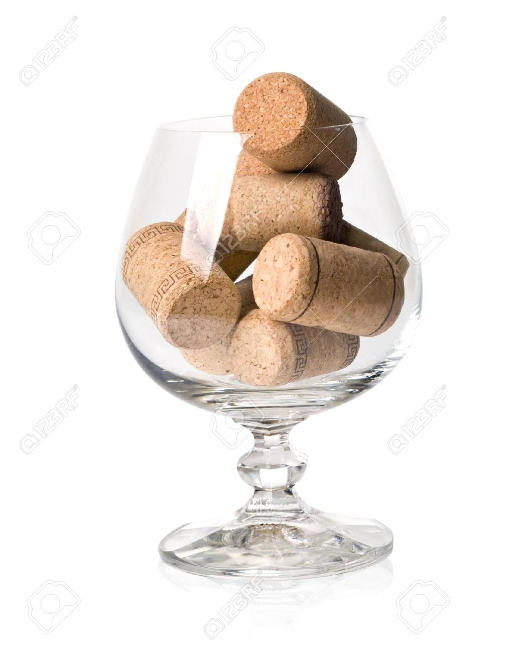 corks in the wine glass isolated on white background Stock Photo - 12248624