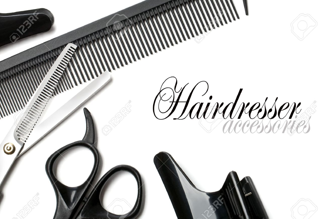 scissors and comb on a white background Stock Photo - 13472895