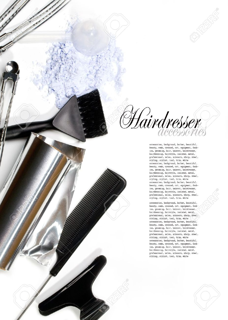 hairdresser Accessories for coloring hair on a white background Stock Photo - 13555082