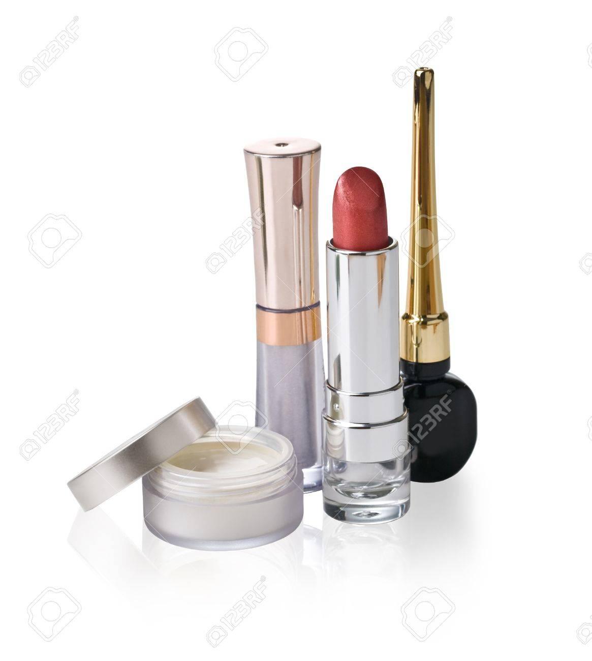 Various Cosmetics on white background Stock Photo - 17014265